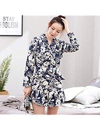 Jeaqw Home Camisón de Manga Larga, algodón Femenino, versión Coreana de la Falda,