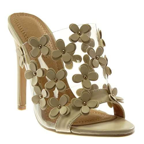 Angkorly - Damen Schuhe Mule Pumpe - Stiletto - Slip-On - schick - Blumen - Nieten - besetzt - transparent Stiletto high Heel 12 cm - Beige 2461-751 T 38