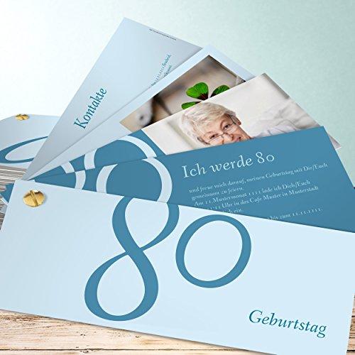 Einladungskarte Geburtstag 80, Meine Achtzig 200 Karten, Kartenfächer 210x80 inkl. weiße Umschläge, Blau