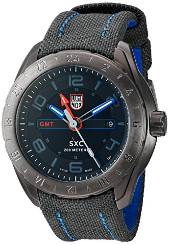 Luminox Men's 'SXC/XCOR GMT' Swiss Quartz Stainless Steel and Canvas Aviator Watch, Color Grey (Model: 5121)