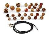❤️HobbyHerz 110 STK. Bunte bemalte Holzperlen inkl. 2 Kautschukketten, schöne Ketten und Armbänder selber Machen | Damen Perlen Halsketten