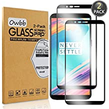 [2 Pack] Owbb Tempered Glass Screen Protector For OnePlus 5T Black Full Coverage Film 99% Hardness High Transparent Explosion-proof