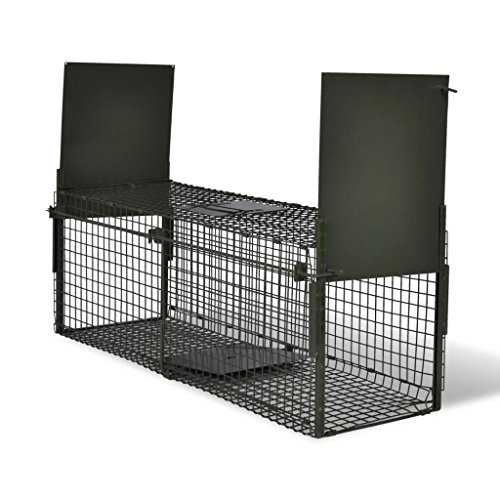 Vislone Plegable 2-Puerta Trampa para Animales Jaula Trampa para Ratón Ratas Zorros Conejos Control Plaga Acero 100x26x31cm