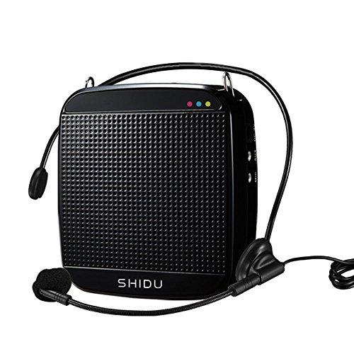 stärker Tragbarer Sprachverstärker mit Mikrofon unterstützt das MP3 Audioformat für Reiseführer, Lehrer, Trainer, Vorträge, Kostüme, Usw.-Schwarz ()