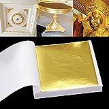 SKAISK Papel de Papel de Hoja de Oro de 100 Hojas para Artes, artesanía Dorada, decoración de Bricolaje (Oro)