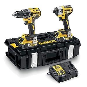 514fRy2tHeL. SS300  - DeWalt DCK266P2-QW - Kit XR con taladro percutor a bateria DCD796, atornillador de impacto DCF887, 2 baterías Li-Ion 5, 0 Ah y organizador DS150