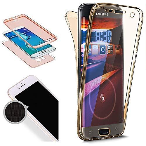 Nadoli 360 Grad Handyhülle für Galaxy A7 2016,Transparent Full-Body Weich Flexibel Einfarbig Farbe Gold Durchsichtig Schutzhülle für Samsung Galaxy A7 2016,Gold