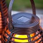 Lights4fun Set of 2 Rattan Solar Powered LED Outdoor Garden Lanterns 8
