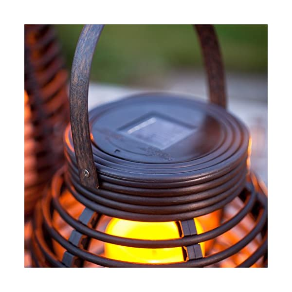 Lights4fun Set of 2 Rattan Solar Powered LED Outdoor Garden Lanterns 3
