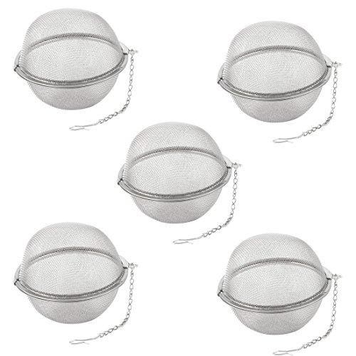 sourcingmap 5 Stück Teefilter Edelstahl Kugel Masche Design Infuser Filter Tee Blatt Sieb 9cm Dm DE de