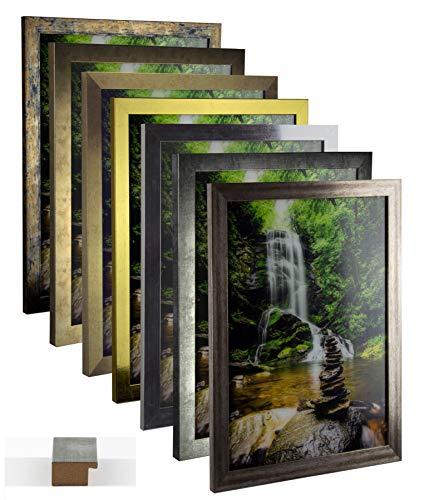 myposterframe Bilderrahmen Vintage Juno 36 x 48 cm Holz MDF Größenwahl 48 x 36 cm Farbwahl Hier: Vintage Gold mit Kunstglas klar 1 mm