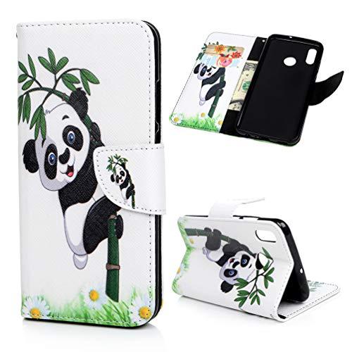 Edauto Huawei P Smart 2019 Hülle Leder Honor 10 Lite Flip Case Tasche Kunstleder Brieftasche Wallet Schutzhülle Handyhülle Ständer Kartenfach Magnetisch Bookstyle Handyschale Großer Panda