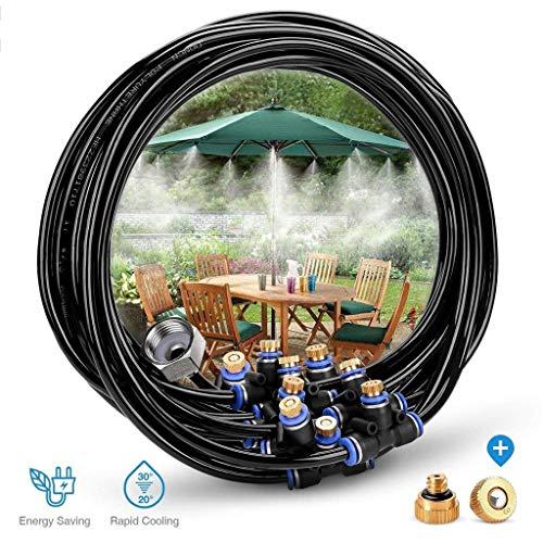 DIY Patio Misting System 59FT (18M) Misting Line 25 Messingnebeldüsen Messingadapter (3/4) Für Patio Garden Greenhouse Trampolin Für Waterpark -
