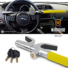 Warrior WA839Y Steering Wheel Anti-Theft High Security Lock Universal Adjustable Self-Defense 3 Keys Yellow + Deterrent