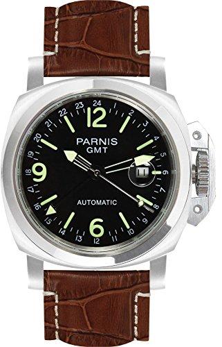 Parnis 9069GMT - Reloj automático deportivo de acero inoxidable, resistente al agua hasta 5 bares, cristal mineral, 44mm - Reloj de aviador / Reloj de marca para caballero