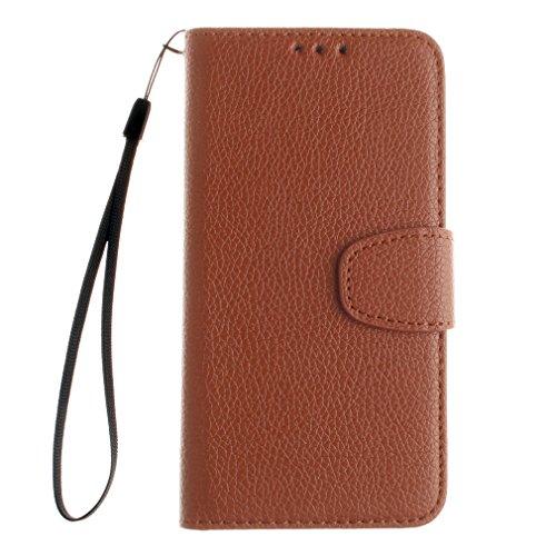 Samsung Mobiltelefon case Magnetisch PU-Leder Geldbörse Flip Wallet Cover in Book Style Stand Case für Samsung Galaxy J1 ACE Braun Braun