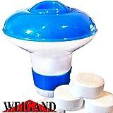 Weigand Dosierschwimmer für bis zu 10 Chlor Oder Sauerstoff Tabletten á 20 Gramm - für Pool, Whirlpool, Quick up & Planschbecken, Mini Dosierer ca. Ø 12 cm x h 12 cm