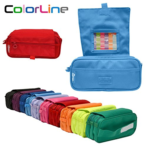 Colorline 58311 - Portatodo Triple de Amplios Apartados Interiores con Cierre de Cremallera Individual, Estuche Multiuso para Material Escolar. Color Azul Claro, Medidas 22 x 11 x 9 cm