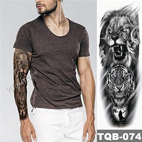 ve Tattoo Sketch Lion Tiger Waterproof Temporary Tattoo Sticker Wild Fierce Animal Men Full Bird Totem Tattoo 01 ()
