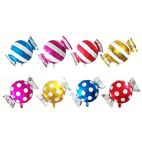TRIXES 8er Pack Folien-Luftballons in Bonbon Form in verschieden Farben Multicolor gestreift und gepunktet Geburtstag Partys Feiern (Polka Dot Ballons Pink)