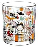 Home Patchwork Becher, Dekor Bike, 250ml, 3Stück, Glas, Transparent/Mehrfarbig