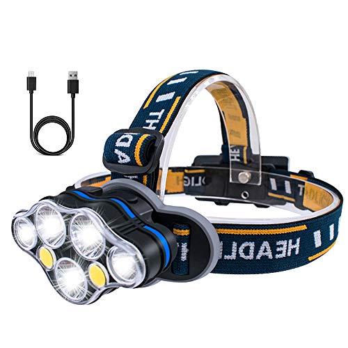 Karrong LED Stirnlampe USB Wiederaufladbar mit 8 Modus, Stirnlampen Kopflampe LED-stirnlampe Wasserdicht Kopflampen für Outdoor Laufen Camping Wandern Joggen Angeln Abenteuer Bergsteigen Radfahren