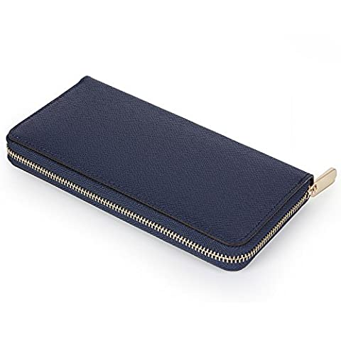 LOSMILE Mens Womens RFID Blocking Wallet Classic Clutch Synthetic Leather Long Wallet Card Holder Purse Handbag(Black)