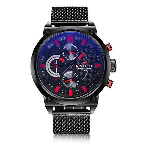 NAVIFORCE Herren Armbanduhr, modisches, sportliches Design, Edelstahl, Analog, Quarz-Uhrwerk, mit Datumsfunktion (rot)
