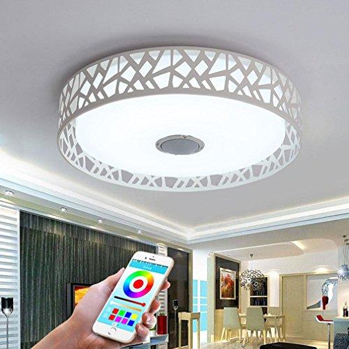 32W LED Plafoniera Integrato Bluetooth Musica Altoparlante Sette Colori Temperatura Lampada da Soffitto Moderno Tondo Ferro Plastica Illuminazione a Soffitto Per Camera da Letto Sala da pranzo Ø45cm