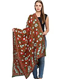 Exotic India Phulkari Dupatta From Punjab With Hand-Embroidered Flowers And Sequins