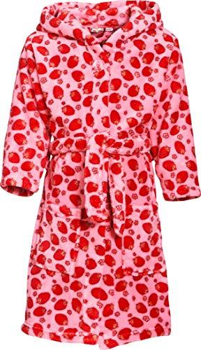 Playshoes Mädchen Fleece Erdbeeren Bademantel, Rosa (original 900), 146 (Herstellergröße: 146/152)