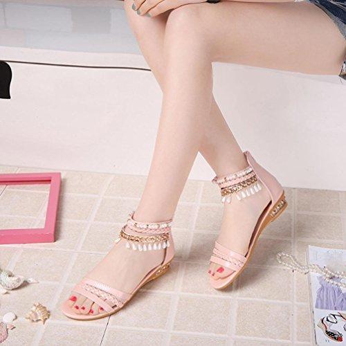 Vovotrade Été élégante Sandales Plateforme Chaussures Femme Dangling Perle Wedges Sandales Décontractées Rose