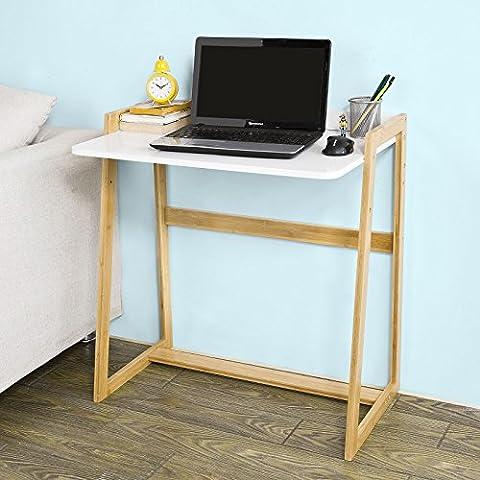 SoBuy® Escritorio de la computadora, mesa de ordenador para el diseño de la superficie de trabajo ajustable en 2 alturas fácil, FWT15-WN,