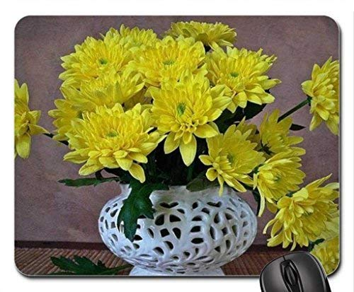 Yellow Chrysanthemums in a White vase Mouse Pad,Flowers Non-Slip Mouse Pad Office Competitive Mouse Pad 18X22cm