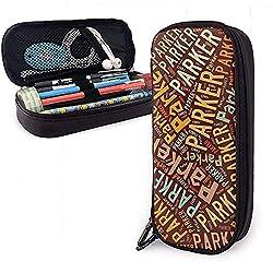 Parker American Nachname Hohe Kapazität Leder Federmäppchen Stifthalter Große Aufbewahrungstasche Box Organizer Office Pen Tragbare Kosmetiktasche