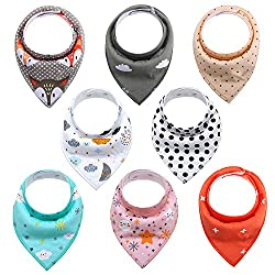 Baby Bandana Dribble Bibs For Drooling & Teething, Organic Cotton, Ultra Absorbent & Comfortable Drool Bibs Set For Boys & Girls 8pcs