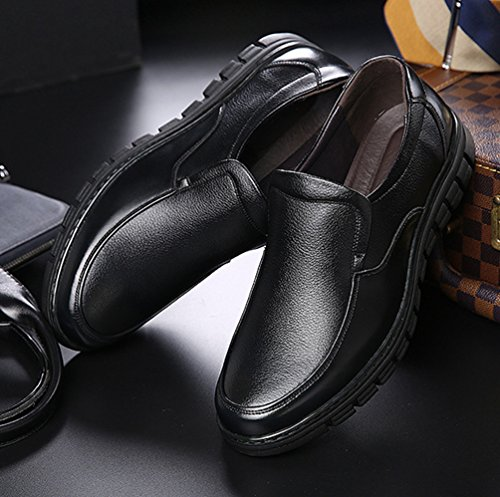 Yiiquan Homme Respirant Moccasin PU Cuir Loisirs Affaires Chaussure Bateau Tête Ronde Loafers Plein Air Chaussures Noir