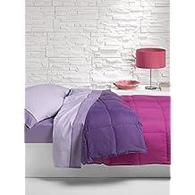 Nórdico Oslo reversible doble color - cama individual - 150x220 - lila/fuxia