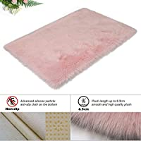 HEQUN New 2019 Upgraded Non-Slip Faux Fur Rug, Fluffy Rug, Shaggy Rugs,Faux Sheepskin Rugs Floor Carpet for Bedrooms Living Room Kids Rooms Decor (Pink, 60 X 90 CM Square) (Pink, 60 X 90 CM Square)