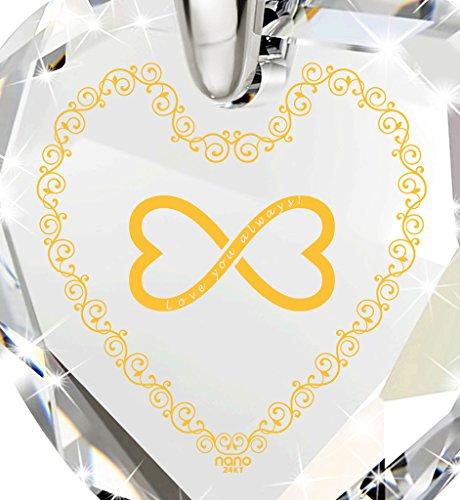 Bijoux Coeur - Pendentif Romantique en Argent 925 avec Love You Always et le symbole de l'infini inscrits à l'Or 24ct sur un Zircon Cubique, Chaine en Or Laminé de 45cm - Bijoux Nano Transparent