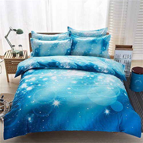 RFVBNM 3D Galaxy housse de couette Set Twin/Queen 4pcs literie ensembles mode personnalité style univers espace extérieur à thème linge de lit à la maison décoration, Queen 4pcs