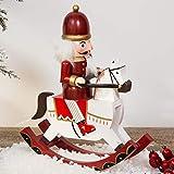 WINTER WONDERLAND Traditional Wooden Nutcracker Soldier Rocking Horse - RED & WHITE - 30cm Bild