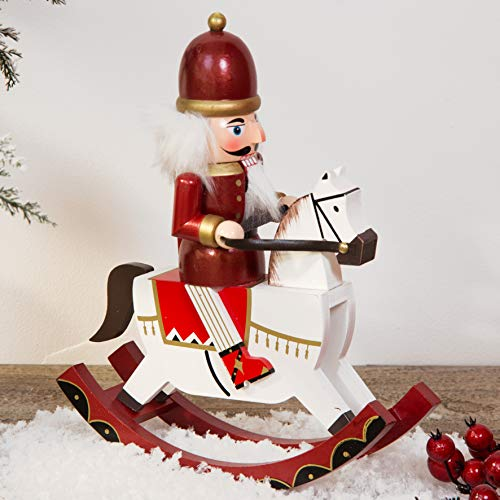 Winter Wonderland Cheval à Bascule Traditionnel en Bois Rouge et Blanc 30 cm