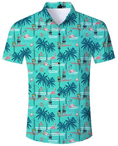 Flamingo Hemd Herren Sommer Slim Fit Comfort Freizeithemd Bunt Blumen Kurzes Schwarzes Hemd für Männer XXL ()
