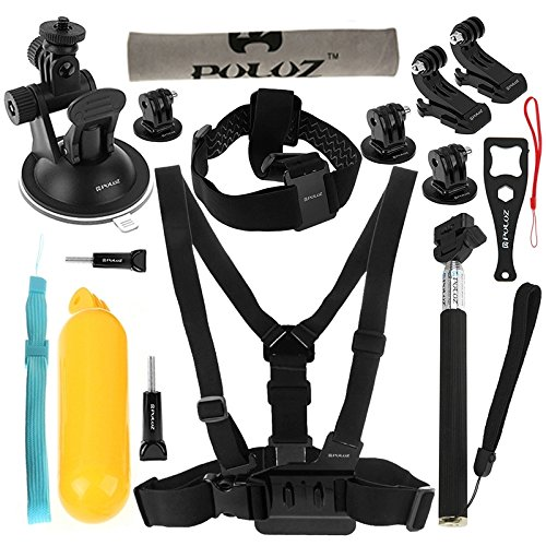 PULUZ 20 in 1 Accessories Combo Kit (Chest Strap + Head Strap + Suction Cup Mount + 3-Way Pivot Arm + J-Hook Buckles + Extendable Monopod + Tripod Adapter + Bobber Hand Grip + Storage Bag + Wrench) for GoPro HERO4 Session /4 /3+ /3 /2 /1