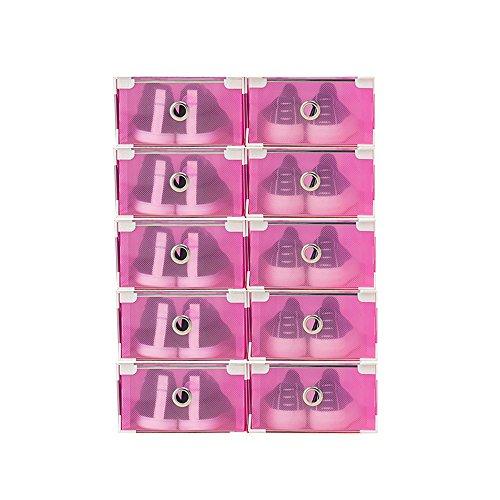 Vinteky® 10x Cajas Almacenaje Plegable de plástico Cajón Organizador Transparente envase de la Caja para Zapatos Apilable Plegable Contenedor. (Rojo, Metal Border)