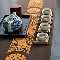 Baumwolle und Leinen Tischläufer Flagge Mahlzeit Flagge [Teezeremonie] Bett Renner Tisch Tischdecken Tischdecke decke Abdeckung Tuch-A 33x190cm(13x75inch)
