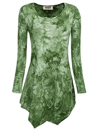 DJT Damen Langarmshirt Asymmetrisch T-Shirt Stretch Longshirt # D156T17 Tie-Dye Gruen 2XL (Tie T-shirt Grüne Dye Damen)