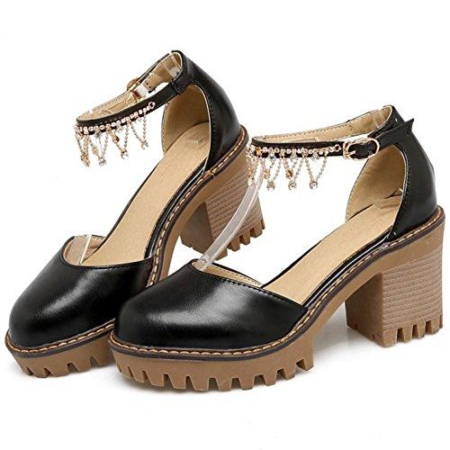 COOLCEPT Damen Sweet Knochelriemchen Sandalen Blockabsatz Plateau Geschlossene Schuhe Gr Schwarz