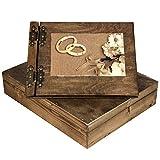Hochzeitsalbum aus Holz mit Holzschatulle ausgesuchte Strukturen goldene Ringe & Blumenstrauß